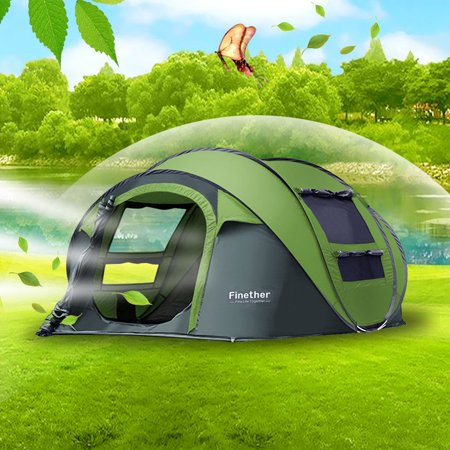 Finether Camping Tents,5 Person Pop-Up TentEasy Up Instant Setup Ventilated [2 Door] [Mesh Window] Waterproof Big Family Privacy Dome Tent Shelter for Backpacking Picnic Camping