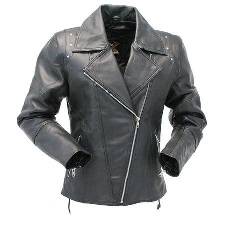 96cd7452a89e4 Riveted Women's Black Leather Lambskin MC Jacket #L657LRZK - Walmart.com