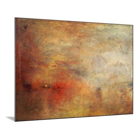 Art Oil Painting Impressionist Landscape - Sundown over a Lake, 1840 Orange Maritime Impressionist Abstract Coastal Landscape Painting Wood Mounted Print Wall Art By J. M. W. Turner