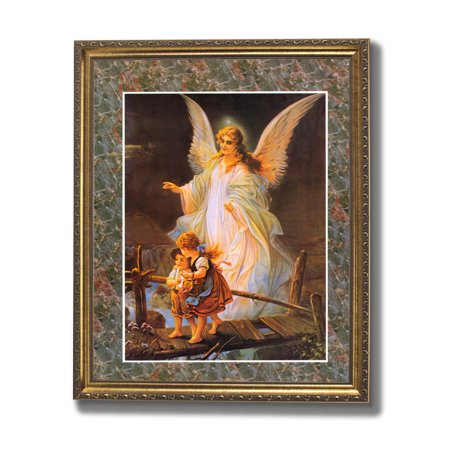 Guardian Angel Picture Frame - Guardian Angel With Children On Bridge Religious #2 Wall Picture Gold Framed Art Print