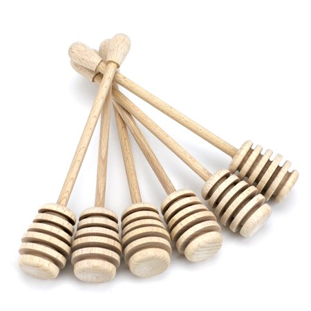 Wooden Honey Dipper Set, 6 Inch Wood Honey Dipper Stick, Small Pack Of 6