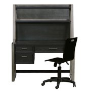 """Delacora Hm-8942-414 Graphite 50"""" Wide Metal Framed Hardwood Surface 3 Drawer Co - Black"""