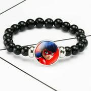 10 Colors Miraculous Ladybug Pearl Glass Bracelet Adjustable Beaded Bracelet