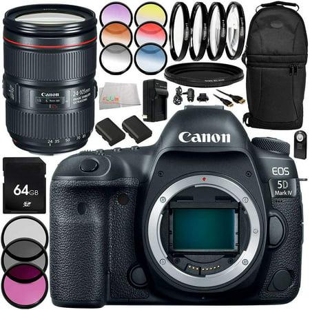 Canon EOS 5D Mark IV appareil photo reflex numérique Canon EF 24-105 mm f / 4L IS II USM Objectif 14PC Kit d'accessoires - Comprend 3 pièces Kit de filtre (UV + CPL + FLD + PLUS - International Versio - image 1 de 1