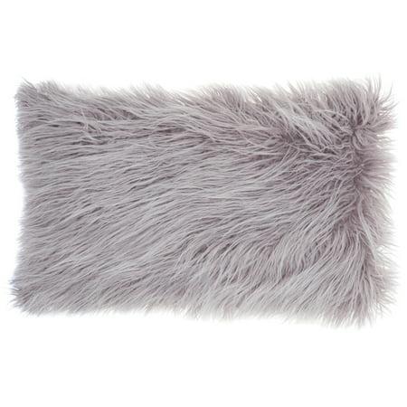 Nourison Faux Fur Solid Lavender Decorative Throw Pillow , 14