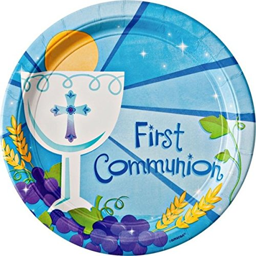 Blue First Communion Round Dinner Paper Plates Religions Party Disposable Tableware and Dishware, 10 1/2""