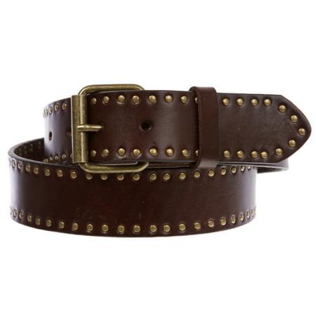 Genuine Vintage Retro Circle Studded Leather Belt - Interchangeable buckle Genuine Vintage Retro Circle