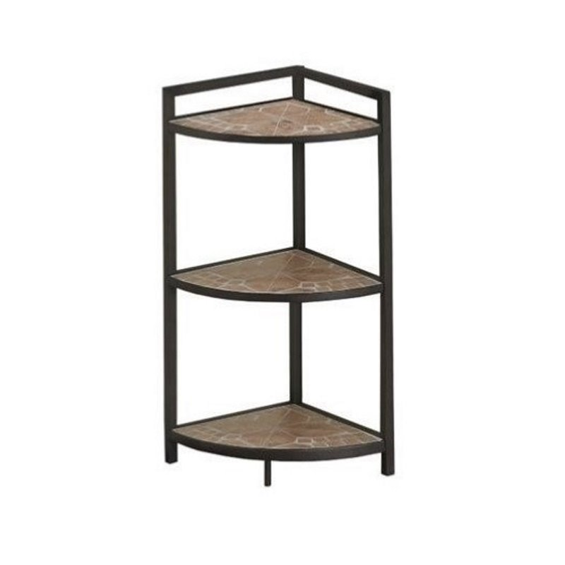 "Bowery Hill 30"" Corner Terracotta Tile Top Etagere in Hammered Brown by Bowery Hill"