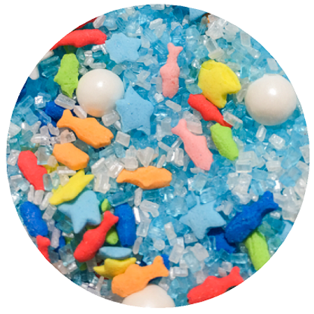 Fish Cake Decorations (Beach Ocean Sea Fish & Pearls Desert Cupcake Icecream Cake Decoration Confetti Quin Pearly Sprinkes -6oz)