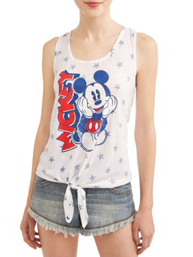 50858ce5e85 Product Image Juniors' Mickey Mouse Americana Graphic Tie Front Tank