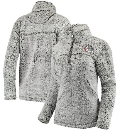 Gonzaga Bulldogs Women's Sherpa Super Soft Quarter Zip Pullover Jacket - Gray Gonzaga Bulldogs Jacket