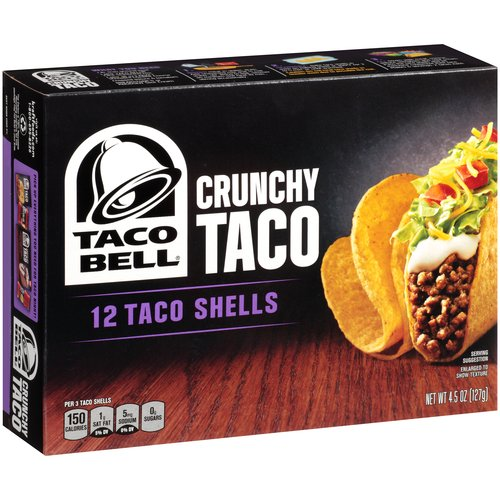 Taco Bell Crunchy Taco Shells, 4.5 oz, 12 Count Box