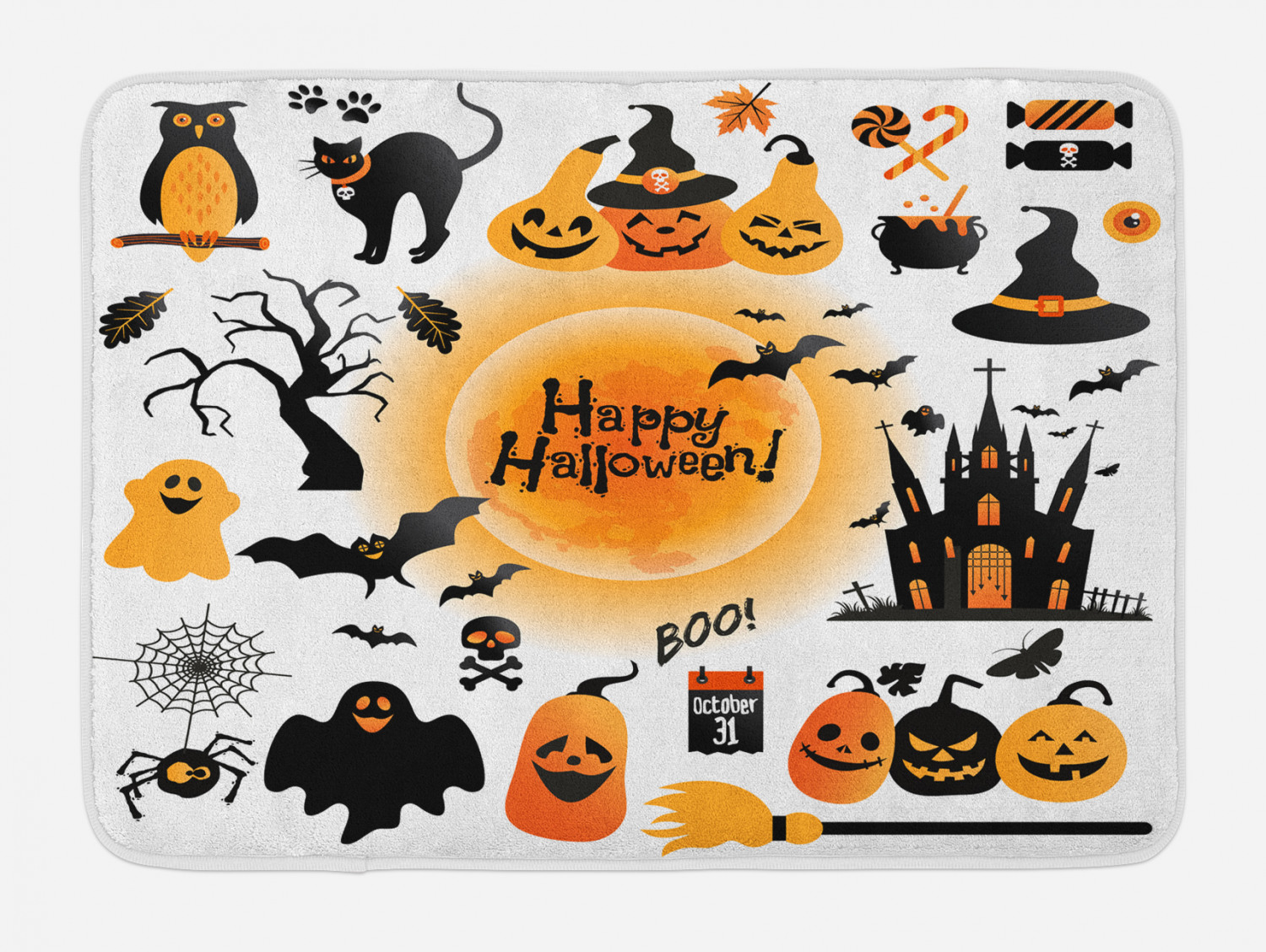 Halloween Bath Mat All Hallows Day Objects Haunted House Owl And Trick Or Treat Candy Black Cat Non Slip Plush Mat Bathroom Kitchen Laundry Room Decor 29 5 X 17 5 Inches Orange Black Ambesonne