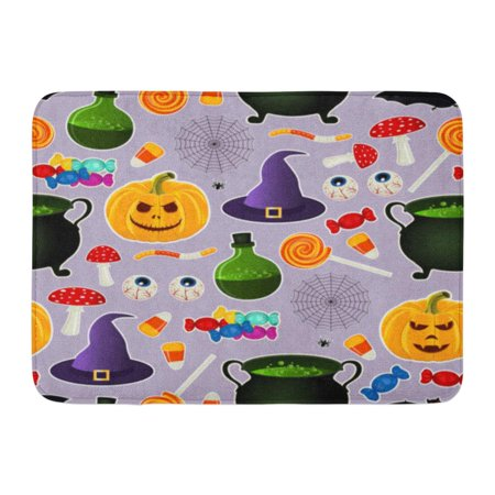 GODPOK Colorful Related Halloween Holiday Object Silhouettes on Purple Traditional Witches Attributes Bright Rug Doormat Bath Mat 23.6x15.7 inch](Halloween Related Holidays)