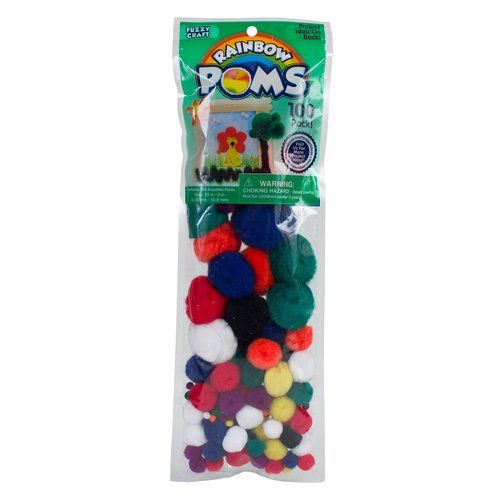 Fuzzy Craft Rainbow Poms, 100-Pack