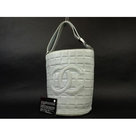 chanel Quilted Chocolate Bar Bucket 222672 Powder Blue Tote Bag
