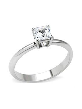 .70ct Princess Solitaire engagement ring designer fashion Stainless Steel