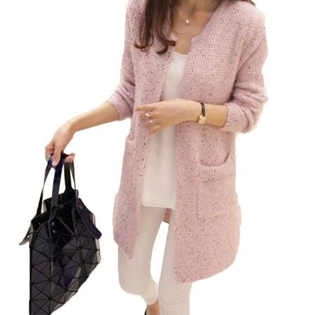 a7b468639bb1 Elenxs - Girl Spring/Autumn Mid Length Sweater Long Sleeve Cardigan Korean  Slim Pocket Loose Knit Sweater Coat - Walmart.com