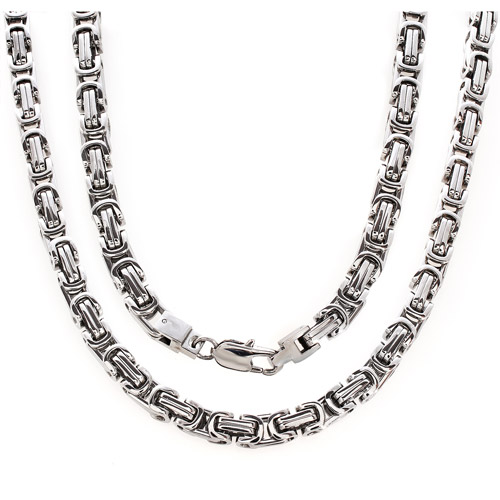 Men's Stainless Steel Square Byzantine Chain, 24""