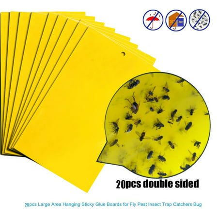 - 20Pcs Strong Flies Traps Bugs Sticky Board Catching Aphid Insects Pest Killer
