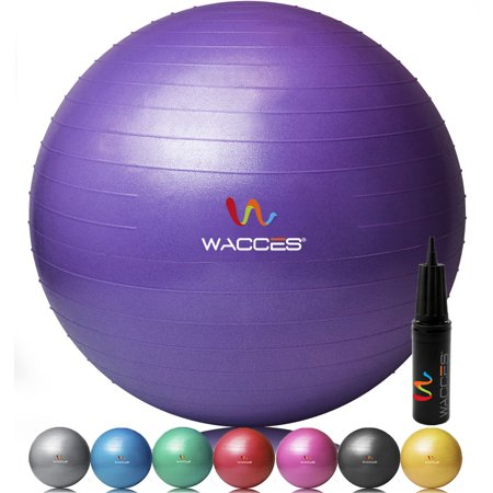 Wacces Exercise Workout Yoga Ball for Yoga Fitness Pilates Sculpting with Dual Action Pump - Purple - 55 (Best Exercise For Height)