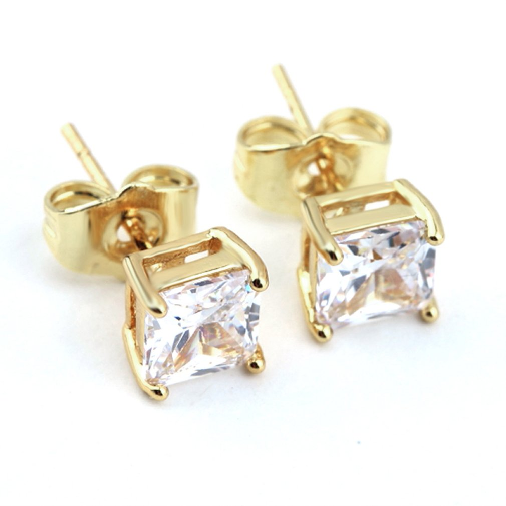 Women Superb Gold Color Clear Square Stud Earrings Shiny Rhinestone For Young And Maturity Female