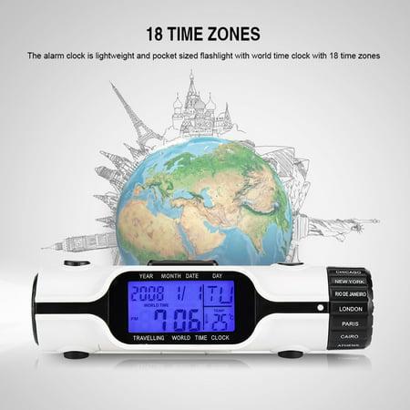 Tbest Flashlight LED Digital World Time Travel Alarm Clock Thermometer Outdoor, Travel Alarm Clock, Digital Thermometer Alarm Clock Outdoor Tile Clock