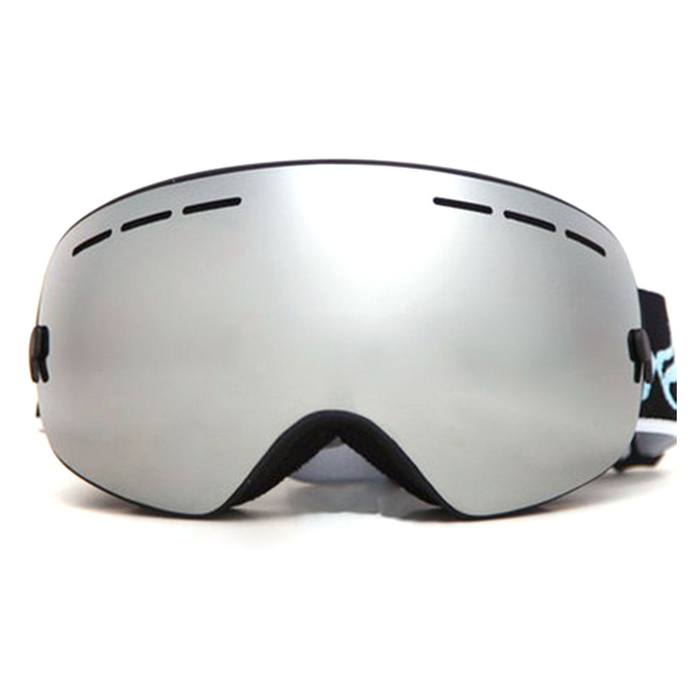 Outdoor Sports Skiing Goggles Windproof Anti-fog Snowmobile Bicycle Motorcycle UV Protection Glasses (Silver) by