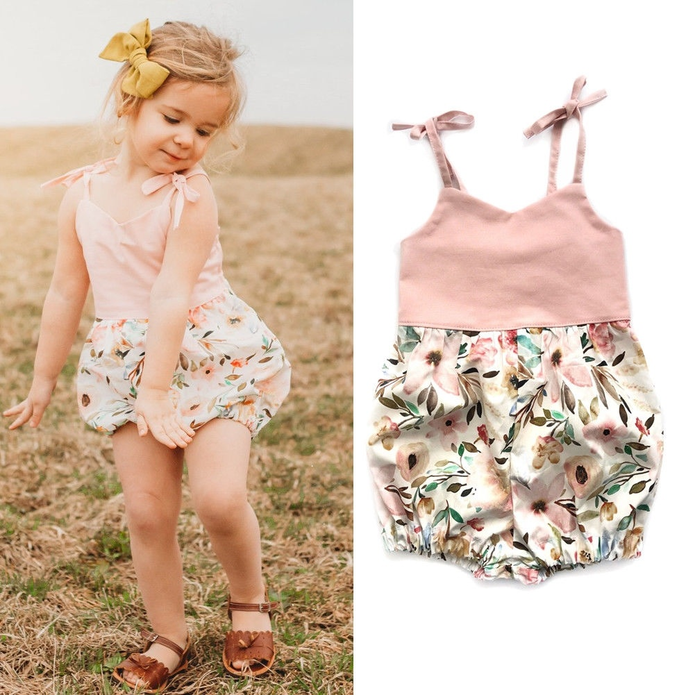 Newborn Baby Girls Floral Strappy Bow Romper Jumpsuit Sunsuit Summer Outfits