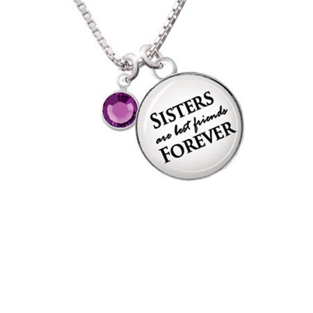 Crystal Purple Channel Drop Sisters are Best Friends Forever Glass Dome Necklace,
