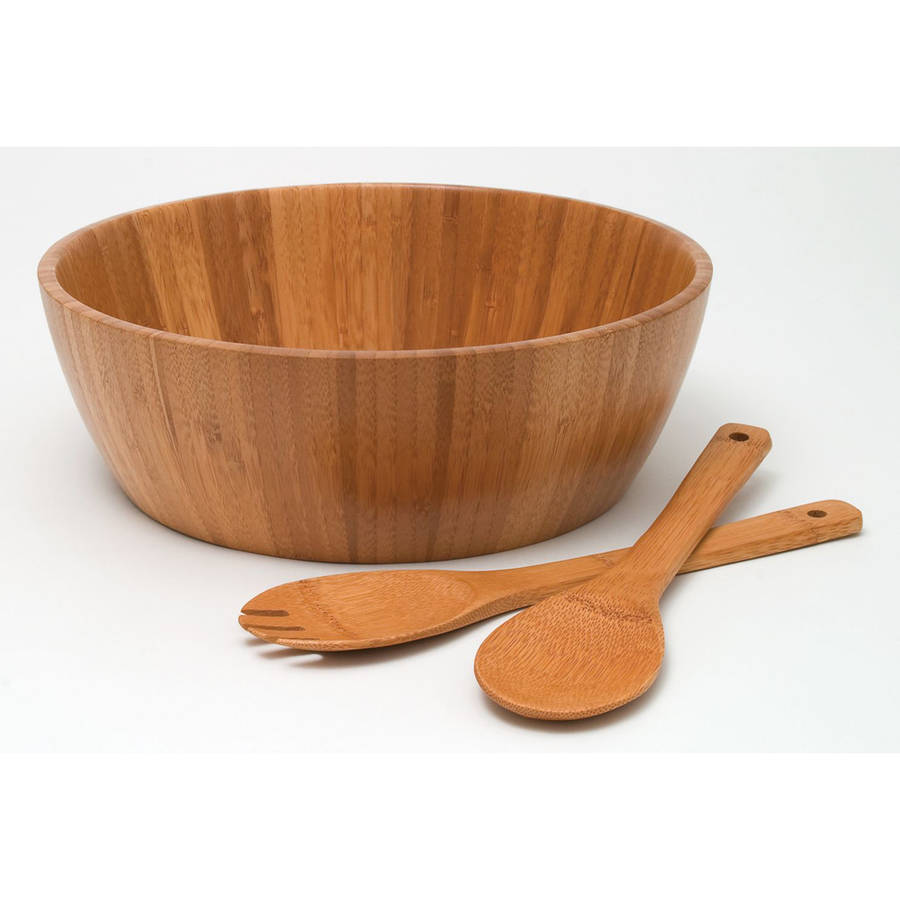 Bamboo Salad Bowl with Servers 3 Piece Set