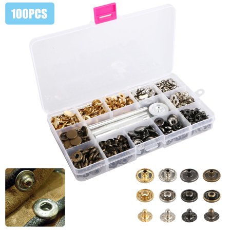 EEEkit 100Sets 12.5mm Snap/Fastener/Button Tool Kit for Leather,Coat,Down Jacket,Jeans Wear and Bags