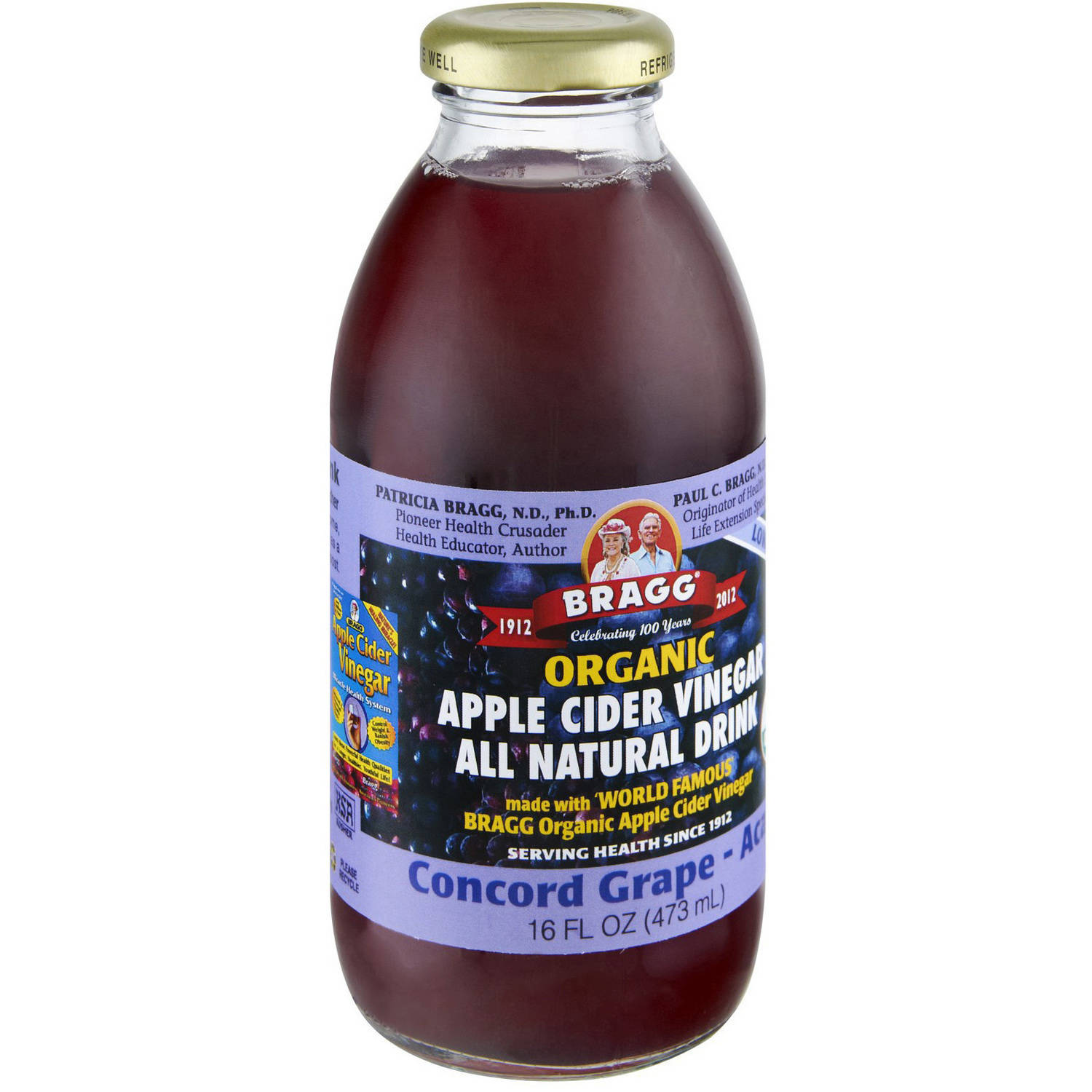 Bragg Organic Apple Cider Vinegar Concord Grape-Acai All Natural Drink, 16 fl oz, (Pack of... by