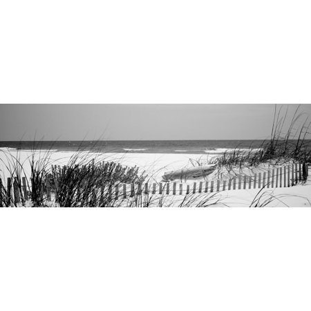 Fence on the Beach, Bon Secour National Wildlife Refuge, Gulf of Mexico, Bon Secour Ocean Coastal Black and White Photography Landscape Print Wall Art By Panoramic Images ()