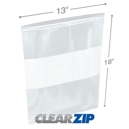 APQ Pack of 500 White Block Zip Lock Bags 13 x 18. Ultra Thick Write on Block Poly Bags 13x18. FDA Approved, 4 mil. Great for Packing and Storing. Ideal for Industrial, Food Service, Healthcare Needs.