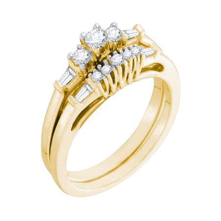 10kt Yellow Gold Womens Round Diamond 3-Stone Bridal Wedding Engagement Ring Band Set 1/3 Cttw - image 1 de 1