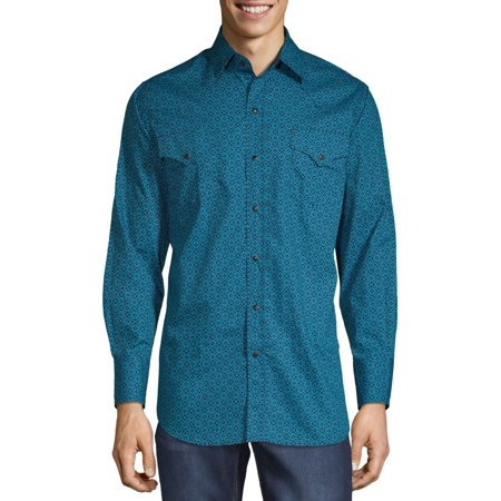 Plains Men's and Big Men's Long Sleeve Paisley Print Green Paisley Shirt