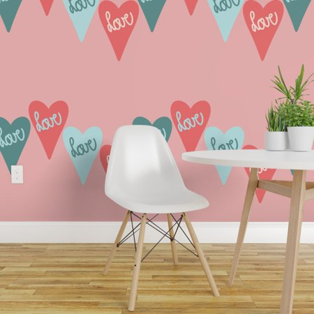 Wallpaper Roll Valentine Pattern Pink And Coral Mint Green Pastels 24i