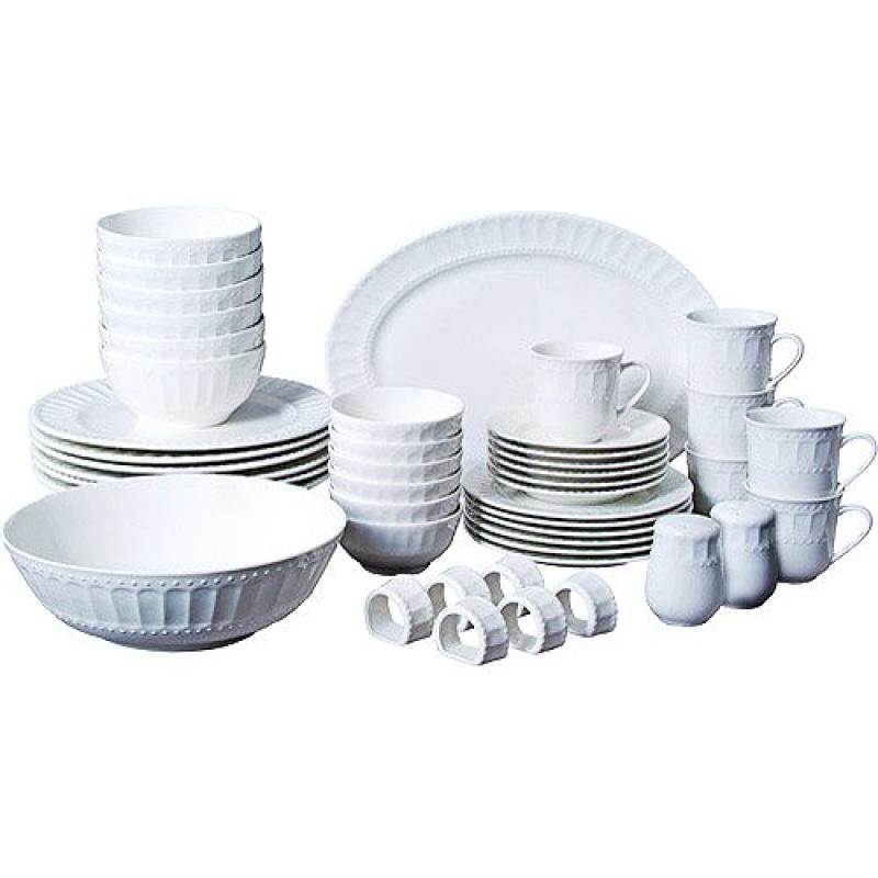 46-piece Dinnerware and Serveware Set, Fine China Set for 6 People