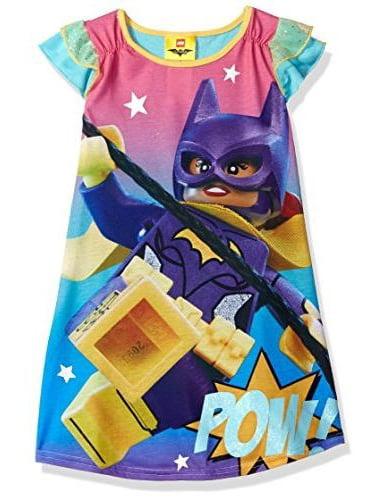 LEGO Batman Big Girls' Lego Batgirl Ruffle Short Sleeve Nightgown Pj, Purple, Size: 10-12
