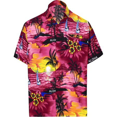 Hawaiian Shirt Mens Beach Aloha Camp Party Casual Holiday Short Sleeve Scenic Print B