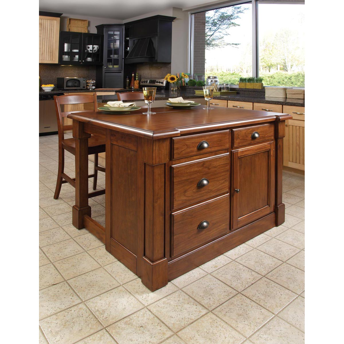 Home Styles Aspen Rustic Cherry Kitchen Island and Two Ba...