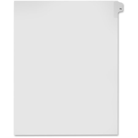 "Kleer-Fax Numeric Laminated Tab Index Dividers - Printed Tab(s) - Digit - 76 - 25 Tab(s)/Set - 8.5"" Divider Width x 11"" Divider Length - Letter - White Divider - 25 / Pack"