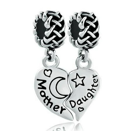 1 Pair Mother Daughter Heart Love Stars and Moon European Bead Compatible for Most European Snake Chain Charm Bracelet (Moon And Star Charm Bracelet)