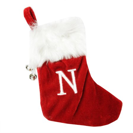 """7"""" Red & White """"N"""" Embroidered Mini Christmas Tree Stocking"""