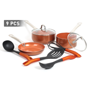 FGY 9 pieces Copper Cookware Set Cooking Pot and Pan Set Non-stick with Ceramic Coating Kitchen Pot Sauce Pan Frying Pan