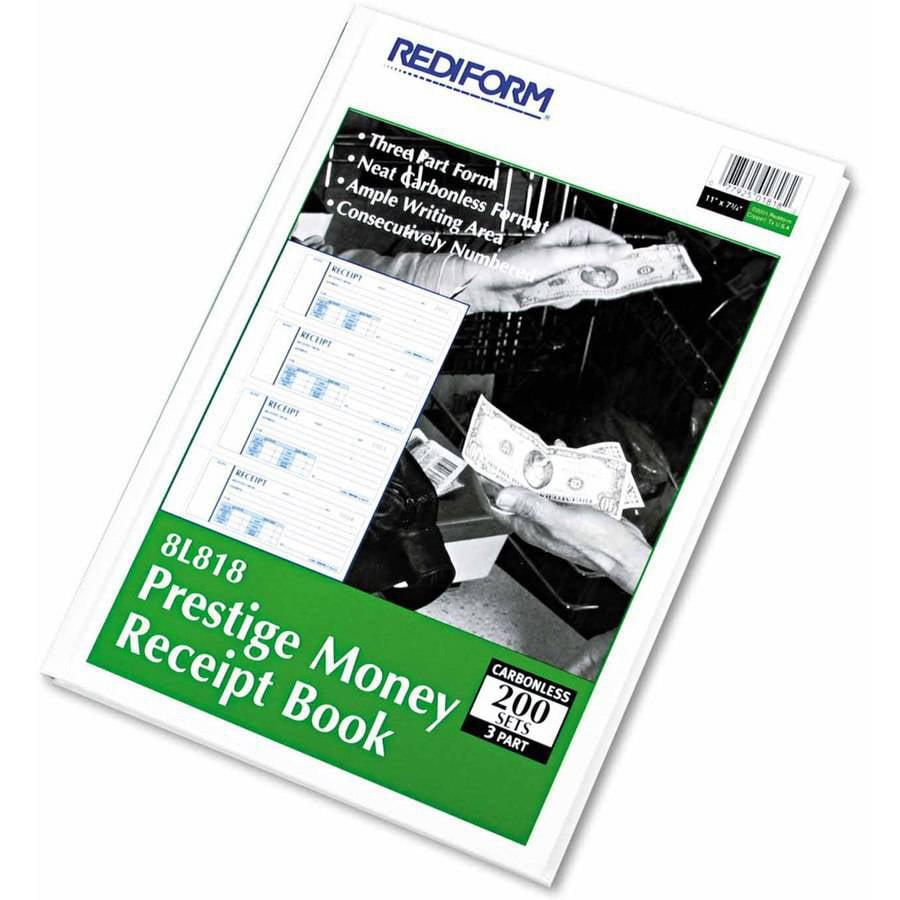 "Rediform Money Receipt Book, 2-3/4"" x 7"", Carbonless Triplicate, 200 Sets/Book"
