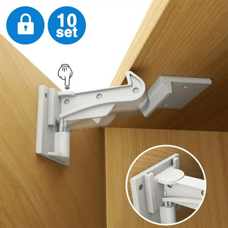 Cabinet Locks Child Safety Pk 10 Pack Invisible Baby Proof Drawer Latches Easy Install No Drill Tool Key Needed
