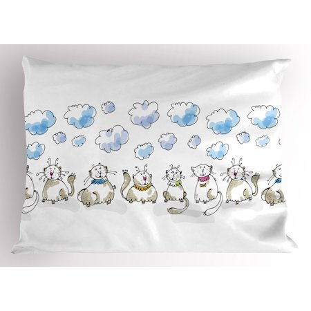 Baby Pillow Sham Clouds with Closed Eyes Cats Sitting Collars Cute Cartoonish Animal Drawing Feline, Decorative Standard Size Printed Pillowcase, 26 X 20 Inches, Dusk Baby Blue, by Ambesonne