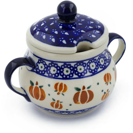 Polish Pottery 7 oz Sugar Bowl (Pumpkin Spice Theme) Hand Painted in Boleslawiec, Poland + Certificate of Authenticity